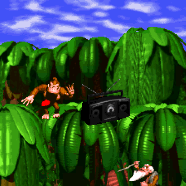From the opening cut scene of Donkey Kong Country where Donkey Kong kicks Cranky out of the trees with his boom box, blasting the heavy beat from the game's theme song. Cranky shakes his cane in disgust since his calm, country music was interrupted.