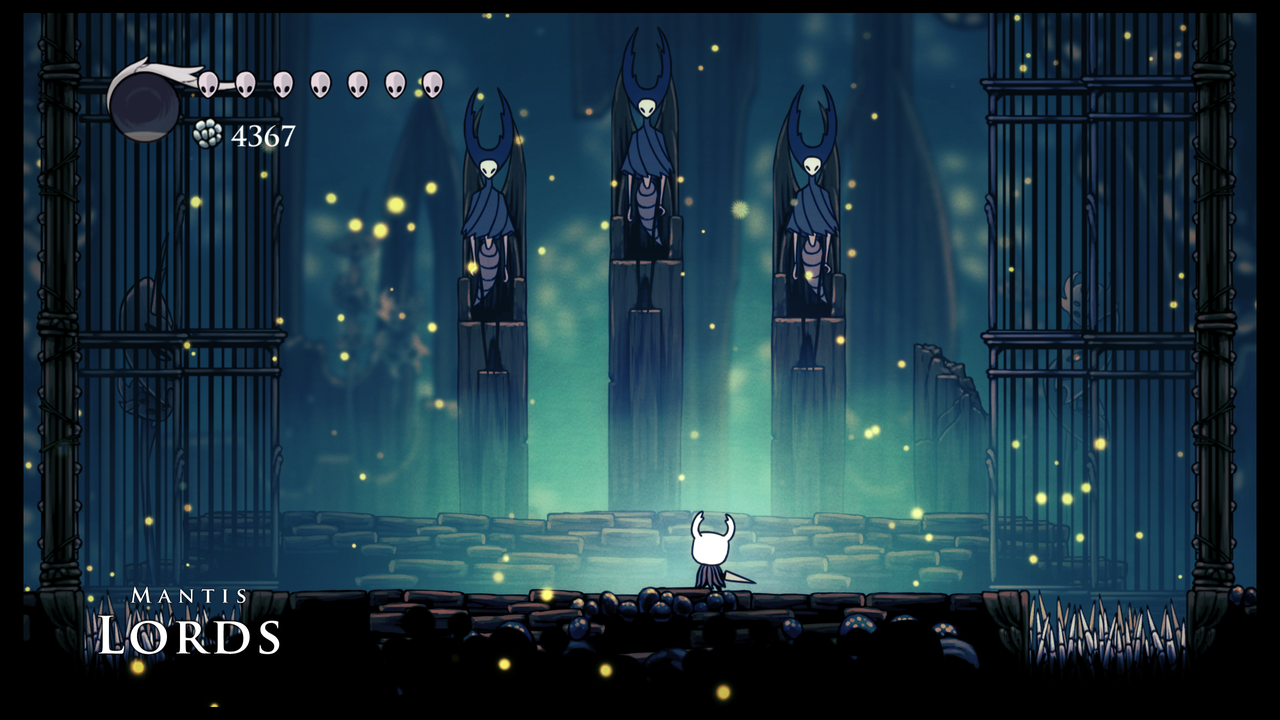 The player character of Hollow Knight, the Knight, stands before the Mantis Lords and challenges them to a duel.