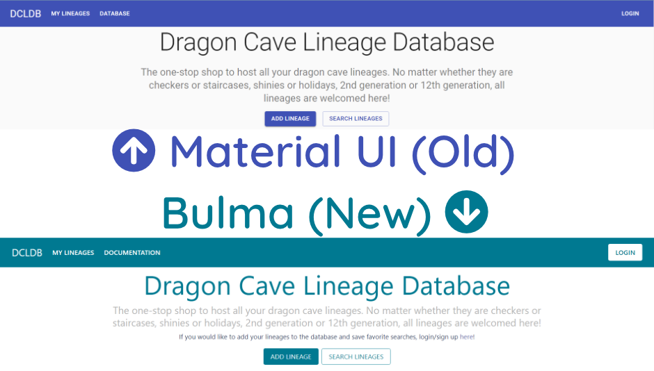 A comparison of the home page using the Material UI Framework and the Bulma Framework