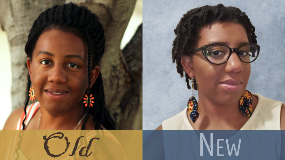 A comparison of my old profile picture with long braids and no glasses to my new profile picture with short locs and glasses